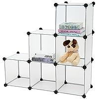 C&AHOME - DIY Bookcase Media Storage Standing Shelf Storage Cabinet Cube of 6, Semitransparent