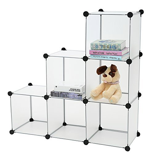 C&AHOME - DIY Bookcase Media Storage Standing Shelf Storage Cabinet Cube of 6, Semitransparent