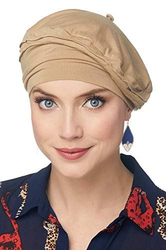 (Cardani Triumph Beret in Luxury Bamboo Hat for Fashion, Cancer, Chemo - Head Covering for Women Luxury Bamboo - French Beige)