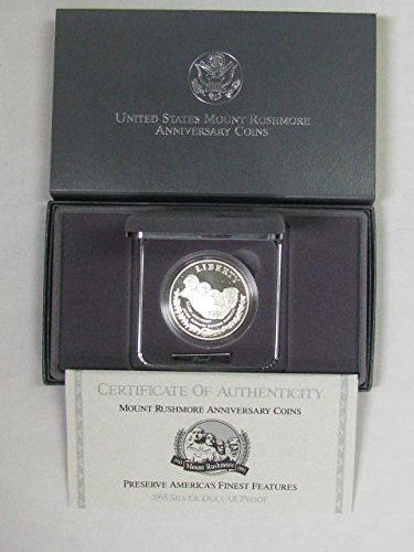 1991 S Mount Rushmore Anniversary Silver Dollar Dollar Grade Proof