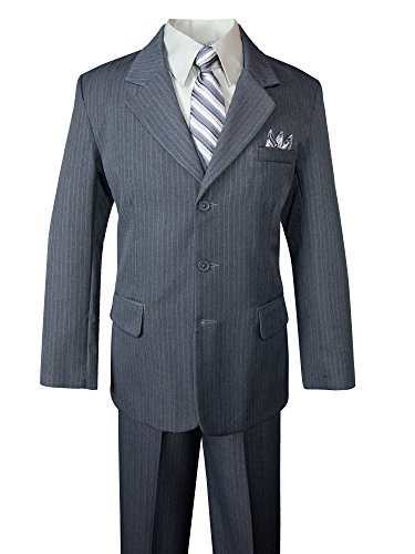 Spring Notion Big Boys' Pinstripe Suit Set Grey-Grey Stripes 10 (Grey Pinstripe Suit Jacket)