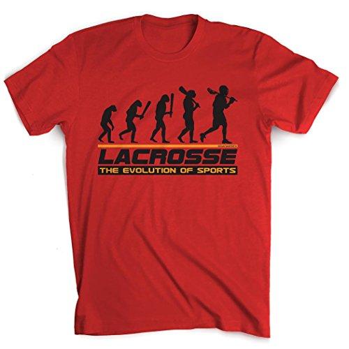 Lacrosse Evolution T-Shirt | Guys Lacrosse Tees by ChalkTalk SPORTS | Red | Youth Medium