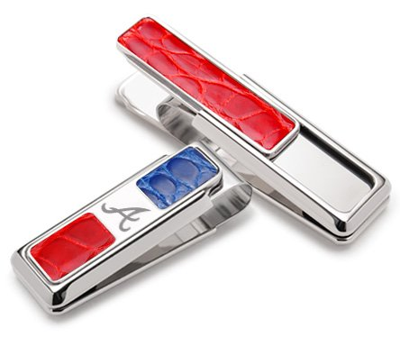 M-Clip Rhodium Atlanta Braves Red & Blue Alligator 2 Pocket Money (Atlanta Braves Credit Card)