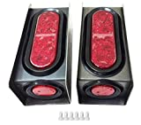 "2 Steel Trailer Light Boxes w/6"" LED Oval Tail Lights & 2"" LED Red Round Side Lights w/Wire connectors"