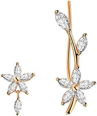 Chicinside Cubic Zirconia Flower Branch Ear Cuff Pins Stud Earrings