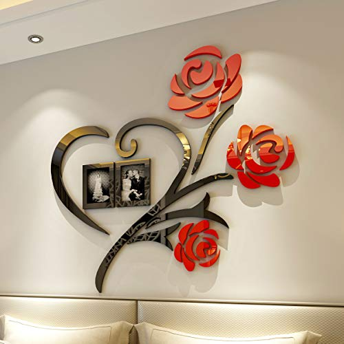 CrazyDeal Wedding Picture Frames Collage Love 3D Stickers Wall Decor with Two 4x6 Size Photo Frames for Bed Living Room Home