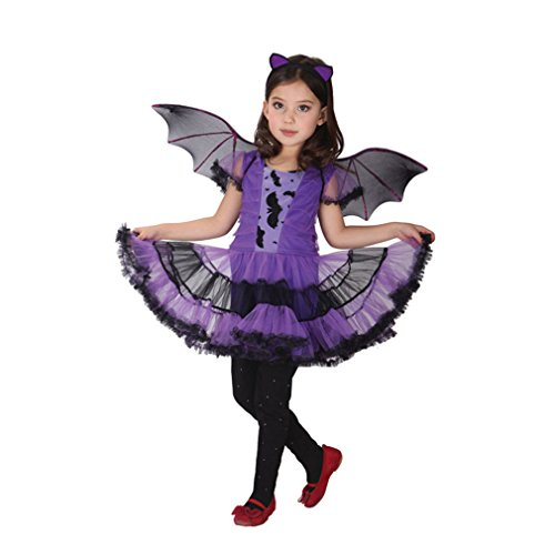 Spooktacular Girls' Purple Bat Costume Set with Dress and Wings, (Girls Bat Witch Costumes)