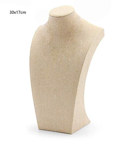 Jewelry Necklace Bust (WERSHOW Beige Linen Necklace Bust Jewelry Display Stand Figure Jewelry Display Stand (30x17cm))