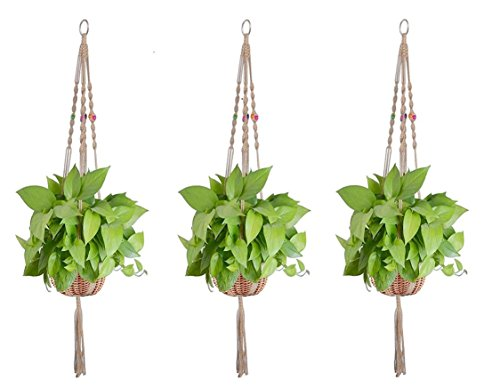 Magnolora 3 Pack Macrame Plant Hanger Indoor Outdoor Hanging Planter Basket Jute Rope Handmade Knotted Plant Hanging Holder 4 Legs 42 Inch (Macrame Basket)