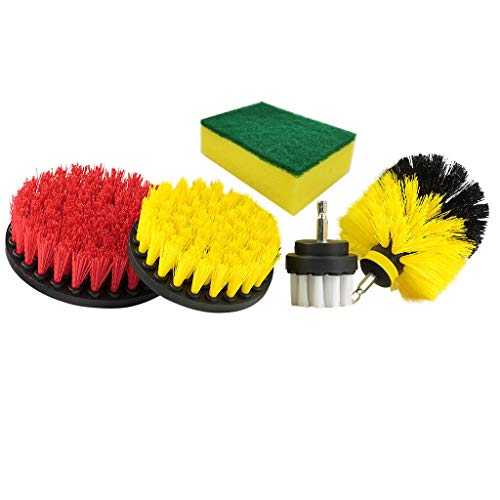 Winner666 Electric Drill Head, Mixed Color Set of 5 Scrub Brush Power Drill Cleaning Brush Tub Cleaner Combo Tool Kit Perfect for Cleaning Grout