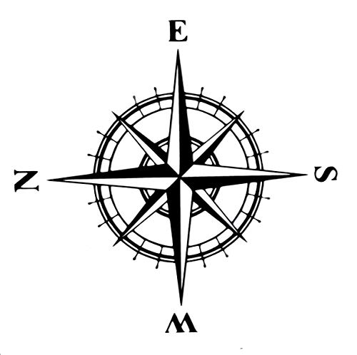 (Custom Vinyl Compass Rose Decal - Bumper Sticker, for Laptops or Car Windows - Orienteering, Sailing, Hiking Transfer)