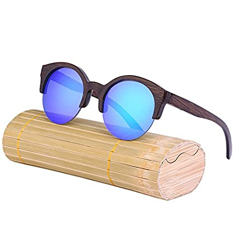 8217e204378d3 Amazon.com  Qjoy Vintage Women Bamboo Sunglasses Wood Half Frame Round  Sunglasses Handmade Sun Glasses with Case  Sports   Outdoors