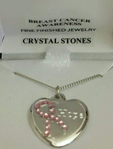 - MC3161 Rhodium Plated breast cancer awareness christal stones necklace on 18'' chain