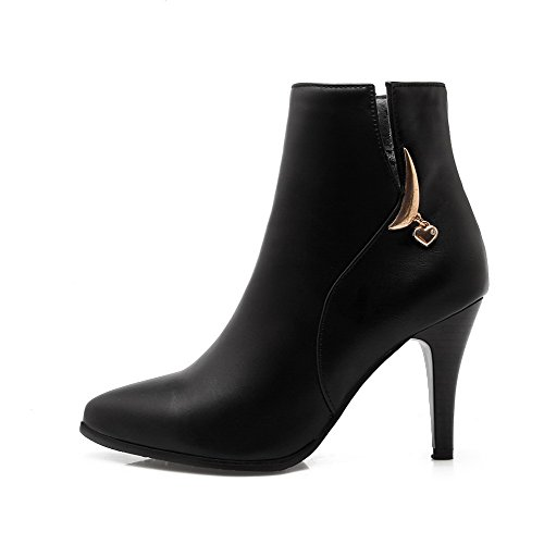 Black Women's Pointed AmoonyFashion Heels High Closed Boots Top Zipper Toe Material Soft Low 7pHpdwq