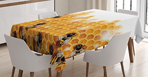 Nature Tablecloth by Ambesonne, Sweet Honey Bees Wax Abstract Insect of Spring Season Artwork Image, Dining Room Kitchen Rectangular Table Cover, 60W X 84L Inches, Apricot Marigold White