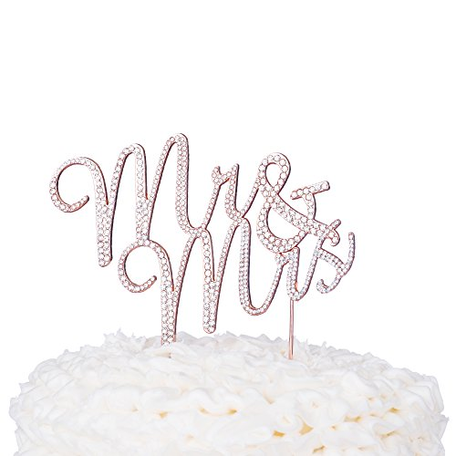 Mr & Mrs Wedding Cake Topper Rose Gold Cursive Rhinestone Monogram Decoration (Rose Gold) (Rose Gold Wedding Cake)