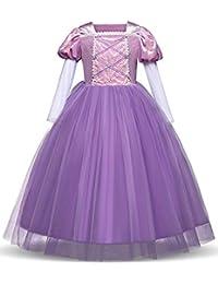 Princess Rapunzel Dress Cosplay Party Long Sleeve Costume (Purple, 3T)