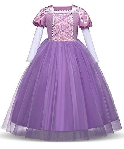 Eshiree Princess Rapunzel Dress Cosplay Party Long Sleeve Costume (Purple, 3T)