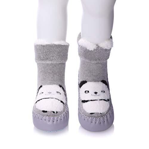 FANZERO Baby Boys Girls Toddlers Cute Animal Slipper Shoe Socks Non-Skid Winter Warm Cotton Indoor Moccasins (M / 12-18 Months, Gray Panda)