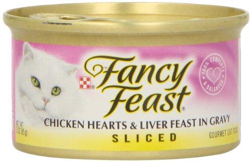 Fancy Feast Chicken Hearts & Liver Feast in Gravy, Sliced, 3 Ounce