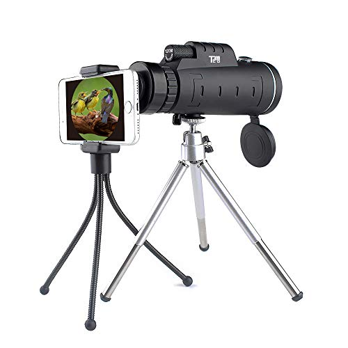 Monocular Telescope - 12x50 Dual Focus with Optical Lens BAK4 Prism - Waterproof - Shockproof - Night Vision - Smartphone Holder and Tripod for Mobile Phone Ideal for Bird Watching Hunting Travelling