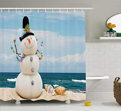 Ambesonne Snowman Shower Curtain, Winter Vacation Holiday Theme Snowman with Seashells Sitting on Sandy Beach Coastal, Cloth Fabric Bathroom Decor Set with Hooks, 75