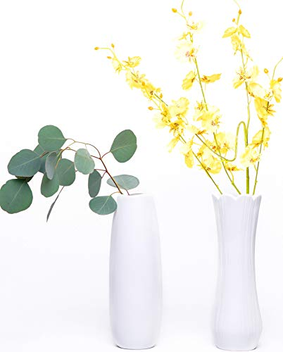 White Flowers Vase Ceramic Matte Vase for Flowers Home Decoration Set of 2, Great for Centerpieces, Kitchen, Office or Living Room Festivals and Weddings Gift -9.5 Inches (Mosiac Vase)