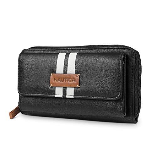 - Nautica Bulk Cargo Womens RFID Wallet Clutch Zip Around Organizer (Black (White Stripe))