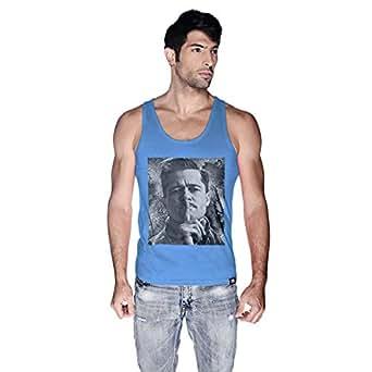 Creo Italian Brad Pitt Tank Top For Men - M, Blue