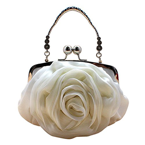 Handle Womens Purse Beige Rose Clutch Satchel Tote Top Evening Handbags Flower Bag IqFSY