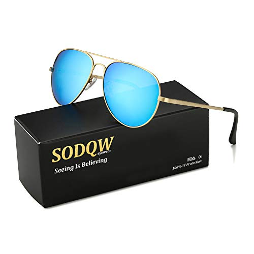SODQW Aviator Sunglasses for Women Polarized Mirrored, Large Metal Frame, UV 400 ()