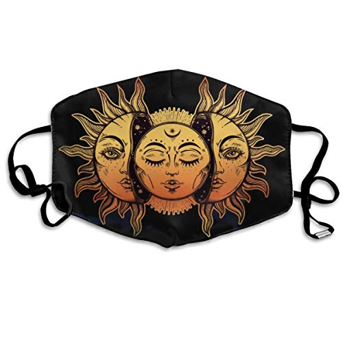 (Washable Mouth Masks for Dust, Unisex Indian Moon and Sun Windproof Face Mask Designer Cover for Men Women Boys)