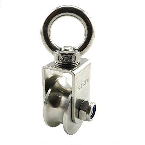 Heyous 1-Pack U Type Swivel Pulley 304 Stainless Steel Duplex Bearing Super-Silent Detachable 360 Degree Rotation Heavy Duty Traction Wheel