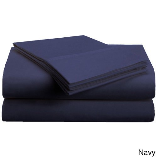 3 Piece Twin Navy Sheet Set, Casual & Traditional Style, Solid Color, Fully Elasticized Fitted Sheet, Solid Color, Microfiber, Sateen weave, Single-ply design, Machine Wash, Bed Sheet