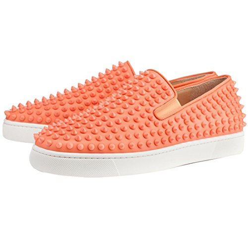 Cuckoo Hombres Slip On Mocasines Negros Con Spikes Zapatillas De Moda Naranja