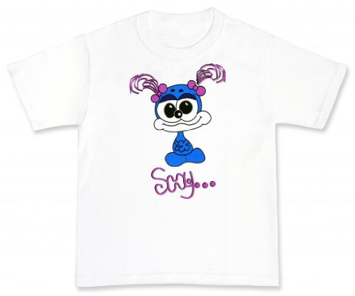 Spiffy Kids Girls' Shy Spiffy T-Shirt -L White (Tee Shy Girl)