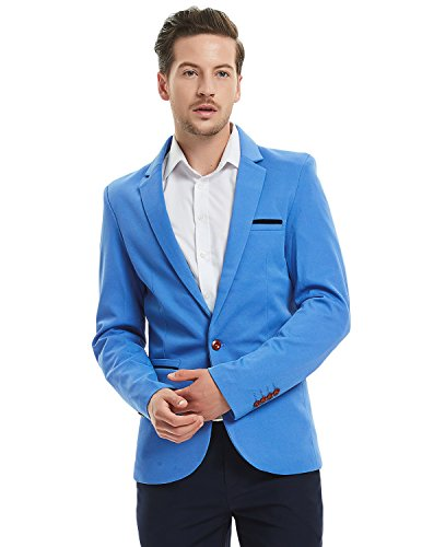 Pishon Men's Slim Fit Suits Casual One Button Flap Pockets Solid Blazer Jacket, Sky Blue, -