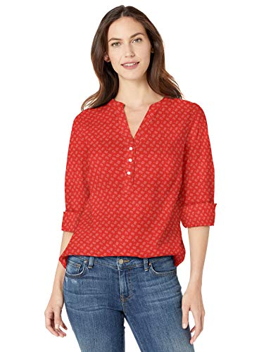 (Amazon Essentials Women's Long-Sleeve Cotton Popover Shirt, Red Frond, M)