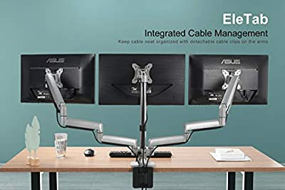 "EleTab Triple Monitor Stand Mount - Full Motion Swivel 3 Monitor Desk Mount Stand Articulating Gas Spring Arms Fit Three 13"" to 32"" Computer Screens, Up to 15.4 lbs Each"