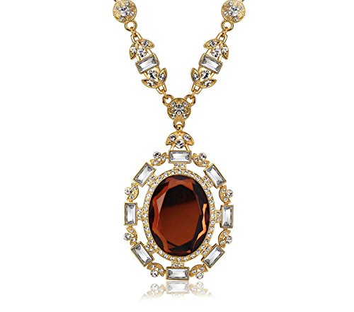 Daesar Gold Plated Necklace for Women Elliptical Hollowing Cubic Zirconia Pendant Gold by Daesar