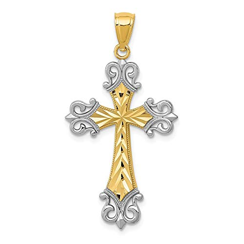 14k Yellow Gold Diamonut Cross Religious Pendant Charm Necklace Fleur De Lis Fine Jewelry Gifts For Women For Her
