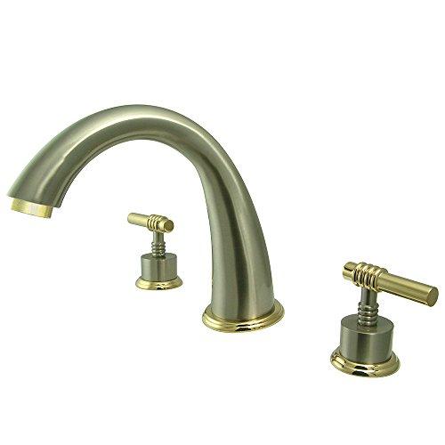 (Kingston Brass KS2369ML Milano Roman Tub Filler, Brushed Nickel and Polished Brass)
