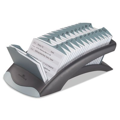 TELINDEX Desk Address Card File Holds 500 4 1/8 x 2 7/8 Cards, Graphite/Black, Sold as 1 Each