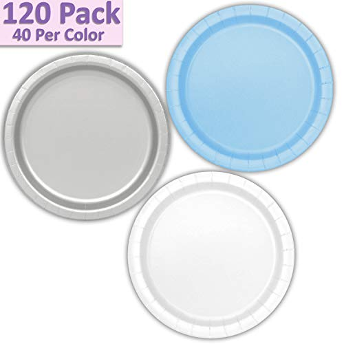 "120 Paper Dessert Plates (7"") - Light Blue, Silver, White - 40 Per Color, 3 Colors - Great Assortment for Birthday Parties, Weddings, Holidays, Baby Shower, Celebrations, and more"