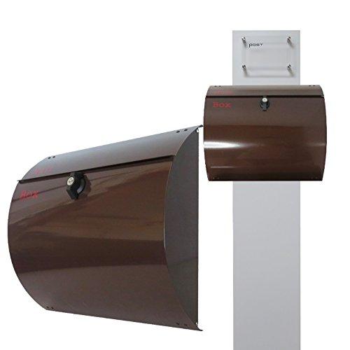 郵便ポストスタンド付 壁掛けプレミアムステンレス ブラウン色ポストpm272s-pm061-1 B076J5TM91 22880