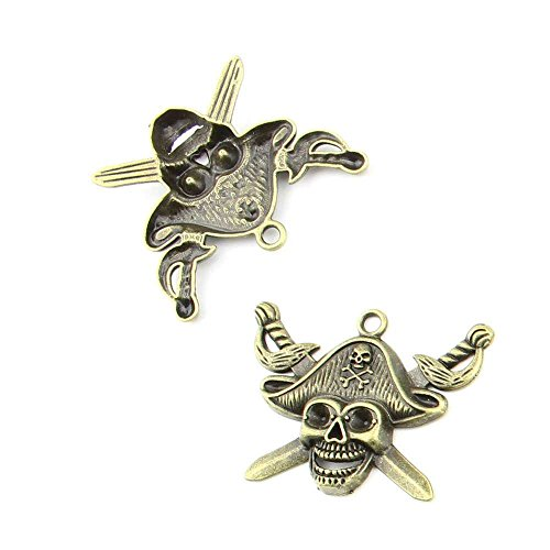 20 pieces Anti-Brass Fashion Jewelry Making Charms 1826 Skull Pirate Wholesale Supplies Pendant Craft DIY Vintage Alloys Necklace Bulk Supply Findings (Pirate Skull Charm)