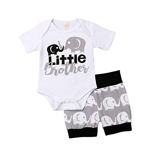 (Infant Baby Boy Little Brother Clothes Elephant Romper Bodysuits+Short Pants Summer Outfits Set 3-6 Months)