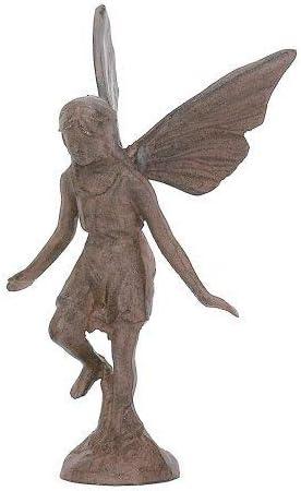 Cast Iron Playful Fairy Garden Statue Angel Pixie Fairy