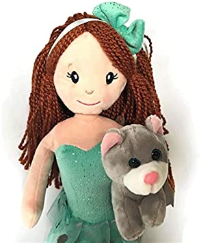 17 Inch Plush Ballerina Doll with Her Friend Kate The Kitty The Petting Zoo Great for Baby//Toddlers//Kids//Children and Girls/… Aque