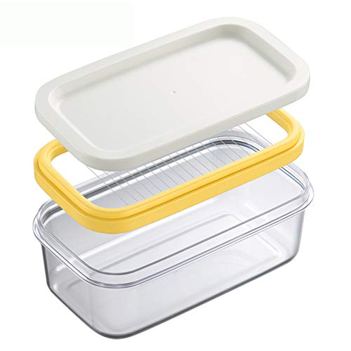 (Butter cutter Box Butter Container Cheese Sealed Storage Box durable for Kitchen Butter Cheese Crisper Storage)